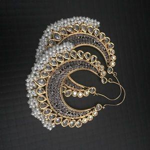 Jewelry - Large kundan earrings Bali Indian jewelry gold